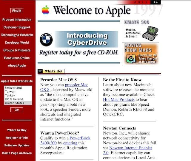 1996 年苹果公司主页
