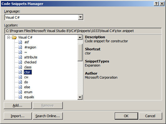 Figure 7: Title and Header Elements in the Code Snippets Manager